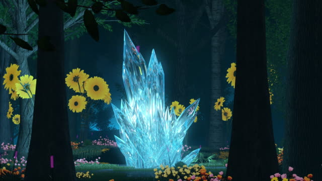 forest wonderland animation. surrounding glowing crystal - fairy stock videos & royalty-free footage