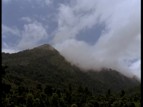 wa forested hills, blue sky in background behind wispy cloud, western ghats, india - wispy stock videos & royalty-free footage