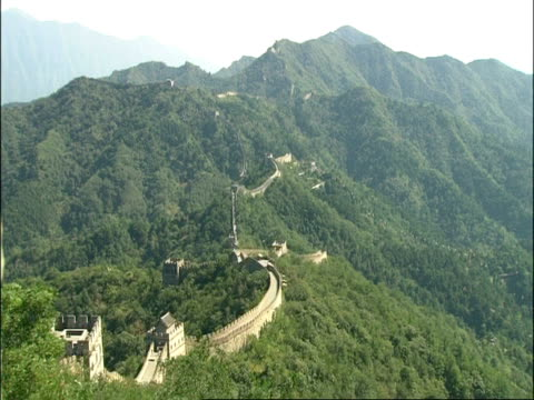 ewa forested mountain area, with great wall of china snaking along ridge line, mutianyu, china - mutianyu stock videos & royalty-free footage