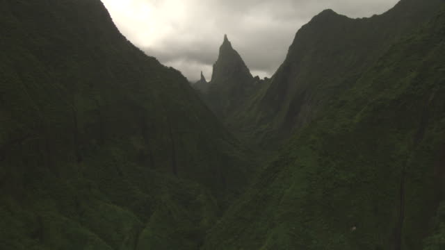 forested peaks and deep valley, tahiti, french polynesia - insel tahiti stock-videos und b-roll-filmmaterial