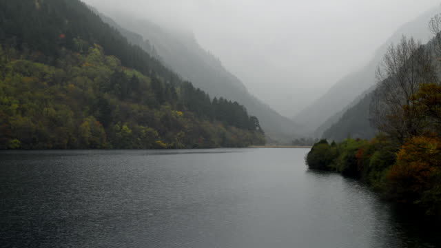 Forested valley and lake, Jiuzhaigou, Sichuan, China