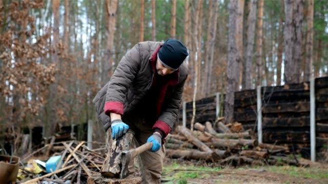 Förster, Hacken von Brennholz zum Heizen zu Hause.