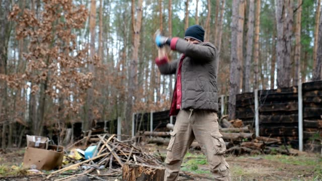 forester chopping firewood for heating at home. - tagliaboschi video stock e b–roll