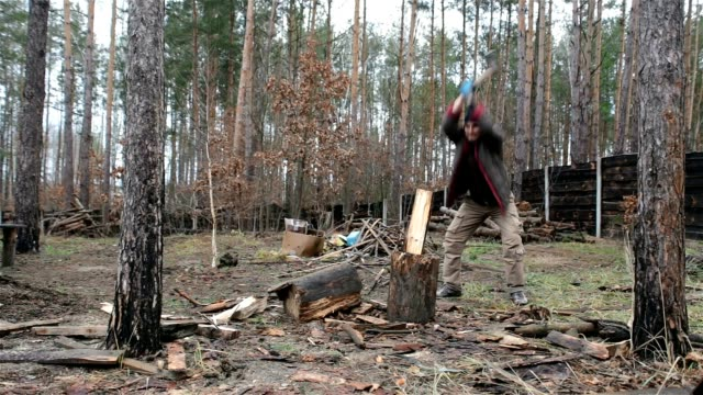 forester chopping firewood for heating at home. - lumberjack stock videos & royalty-free footage