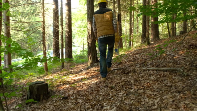 forester with tattoos walking with axe - tagliaboschi video stock e b–roll