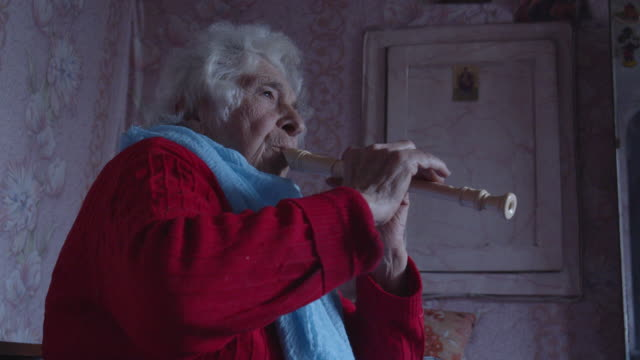 "vídeos de stock e filmes b-roll de forever learning. a senior person learning from the internet how to play the flute. music and entertainment.  a ""how to....?"" story. - comunidade de aposentados"