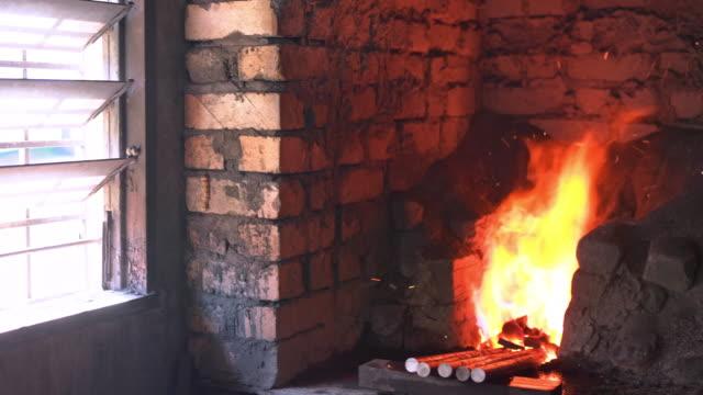 Forge in blacksmith's workshop