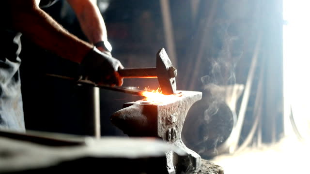 forging hot iron - blacksmith stock videos & royalty-free footage