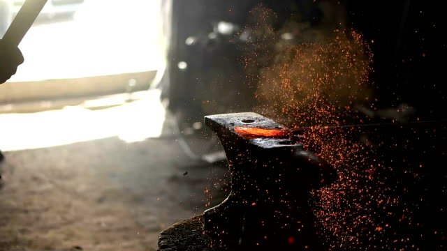 forging hot iron - craft stock videos & royalty-free footage