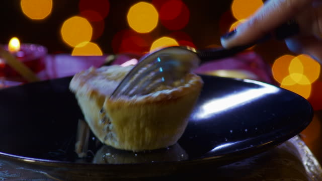fork cuts pie in half - crumble dessert stock videos and b-roll footage