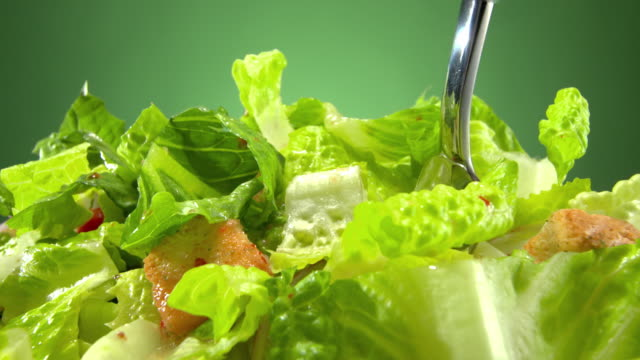 ecu fork lifts a bite from mixed green salad  - healthy eating stock videos & royalty-free footage