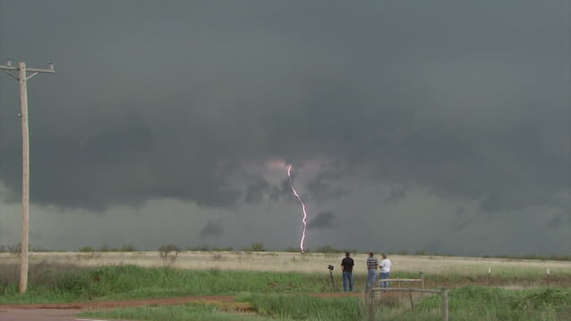 Forked Lightning under dark clouds with people watching in foreground, daytime.