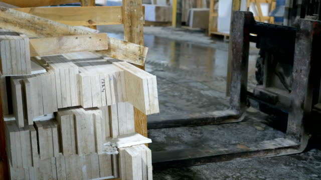forklift  carring  marble  in marble factory - marble rock stock videos and b-roll footage