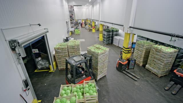 stockvideo's en b-roll-footage met cs vorkheftruck met houten kisten vol groene appels in een magazijn - carrying