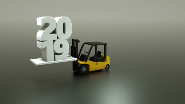 3d forklift loading 2019 new year text, 3d rendering - forklift truck stock videos and b-roll footage