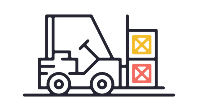 forklift vehicle line icon animation with alpha - forklift truck stock videos and b-roll footage