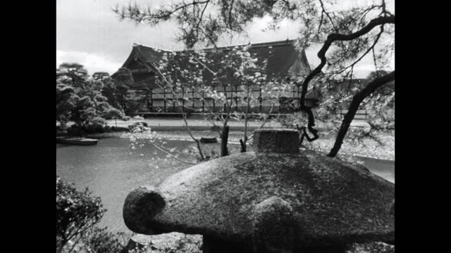 formal japanese garden in sento imperial palace; kyoto, 1964 - kyoto prefecture stock videos & royalty-free footage