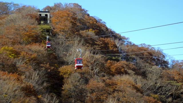 HD-Format Red Cable Car geht den Berg in Nikko hinauf.