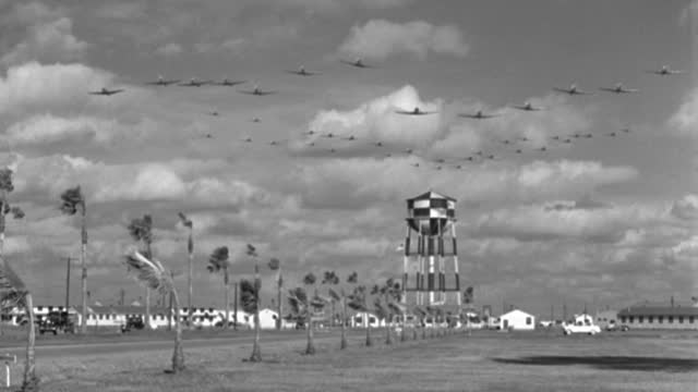 a formation of trainer aircraft flies over a water tank and palm trees. - 1943 stock videos & royalty-free footage