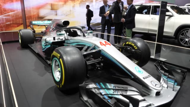 formel 1 mercedes w08 stands among vehicles on display at the annual daimler ag shareholders meeting on may 22, 2019 in berlin, germany. daimler has... - annual general meeting stock videos & royalty-free footage