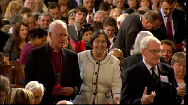 former archbishop of canterbury lord carey criticises david cameron; lib / 20.5.2009 westminster cathedral: **music heard sot** lord carey arriving... - westminster cathedral stock videos & royalty-free footage