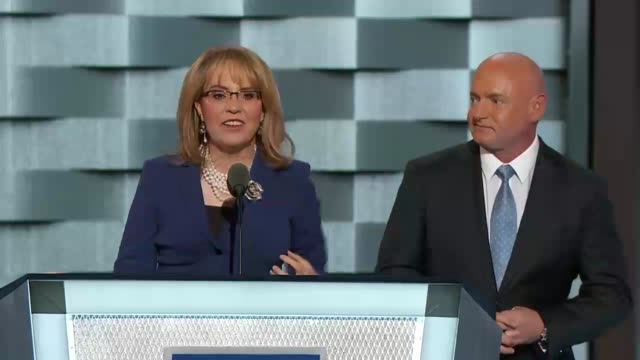 Former Arizona Congresswoman Gabby Giffords with her husband Captain Mark Kelly discuss gun violence at the convention Giffords who sustained a gun...