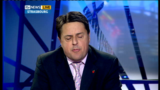 former army leaders accuse bnp of hijacking the good name of britain's military int nick griffin live 2way interview from strasbourg sot we will put... - enoch powell stock videos & royalty-free footage