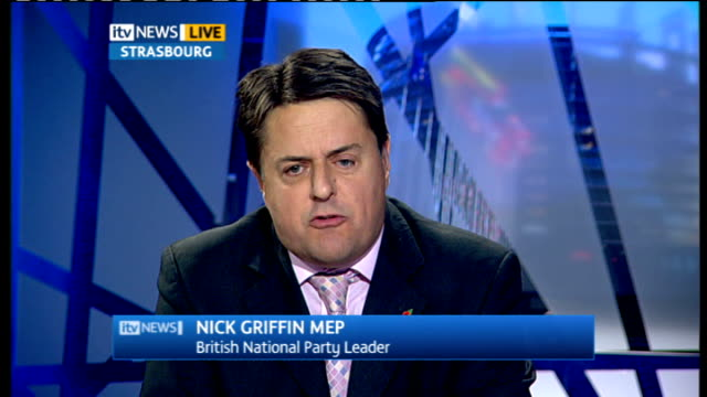 Former army leaders accuse BNP of hijacking the good name of Britain's military **ASTONS Nick Griffin 2WAY interview from Strasbourg SOT If Winston...