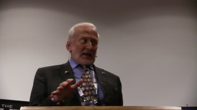 NASA former astronaut Edwin Eugene Buzz Aldrin the second person to walk on the moon addresses the crowd and shares his vision on future space...
