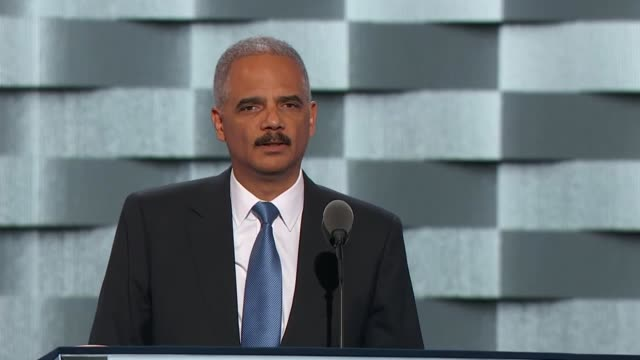 former attorney general eric holder discusses social justice at the convention, telling delegates that hillary clinton has the skills and strength to... - attorney general stock videos & royalty-free footage