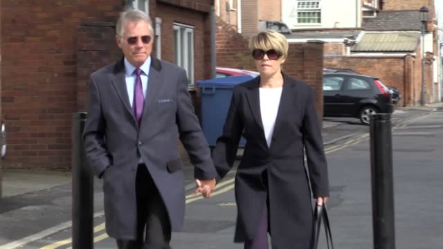 Former BBC Radio presenters Tony and Julie Wadsworth arrive at Warwickshire Justice Centre Leamington Spa where they are on trial accused of child...