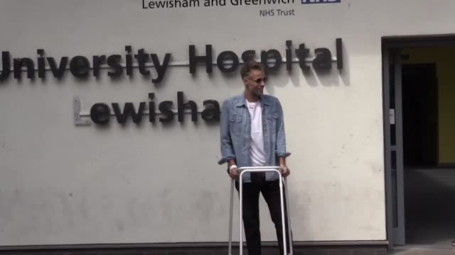 Former BBC TV Blue Peter presenter Richard Bacon leaves Lewisham Hospital in south east London with his wife Rebecca He fell ill while travelling to...