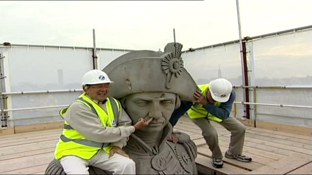 former blue peter presenters scale nelson's column england london trafalgar square nelson's column ext former blue peter presenters john noakes and... - peter purves stock videos and b-roll footage