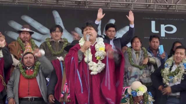 former bolivian president evo morales arrives in el alto for the first time in over a year to meet with social organisations from the 20 provinces of... - evo morales stock videos & royalty-free footage