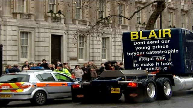 former boxer chris eubank at charing cross police station to answer bail; file / tx 22.2.07 whitehall: ext truck driven by chris eubank with 'blair... - chris eubank sr. stock videos & royalty-free footage
