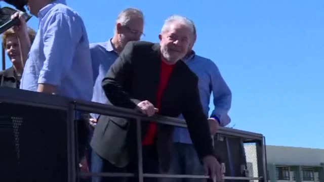 former brazilian president luiz inacio lula da silva begins his fourth pre election campaign trail on monday in the southern city of bage ahead of... - südbrasilien stock-videos und b-roll-filmmaterial