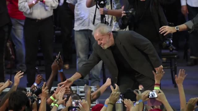 former brazilian president lula reaffirmed wednesday at a rally in belo horizonte in front of thousands of supporters that he is running as a... - belo horizonte stock videos and b-roll footage