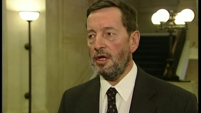 former british guantanamo bay detainee has travelled to syria; t19020420 / 19.2.2004 england: london: westminster: int david blunkett mp interview... - david blunkett stock videos & royalty-free footage