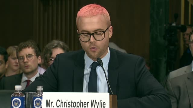 former cambridge analytica research director christopher wylie tells members of the senate judiciary committee at a hearing on data privacy that... - shock tactics stock videos and b-roll footage