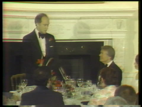 former canadian prime minister pierre trudeau speaks at a white house state dinner held in his honor. then-president jimmy carter introduced the... - united states and (politics or government) stock videos & royalty-free footage
