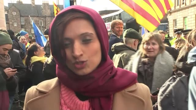 former catalan minister clara ponsati granted bail in edinburgh scotland edinburgh ext **music heard sot** bagpipes being played next to pro... - 保釈点の映像素材/bロール