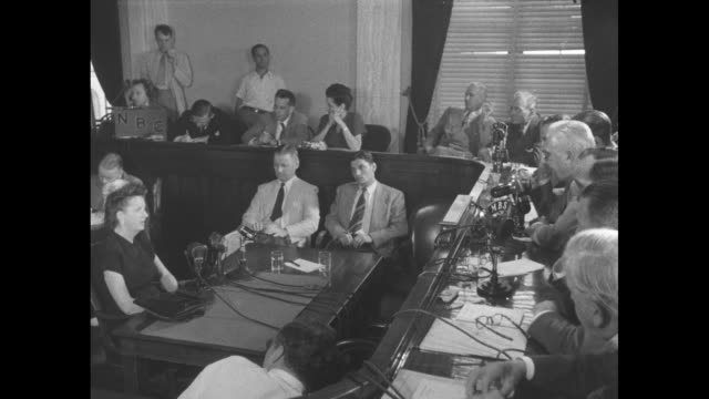 former communist party member elizabeth bentley testifies before the senate war investigating committee / sot bentley is questioned by sen homer... - communist party stock videos and b-roll footage