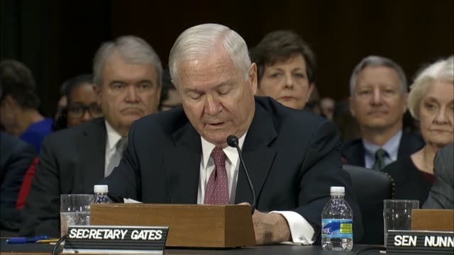 former defense secretary and director of the central intelligence agency robert gates speaks at the nomination hearing by the senate foreign... - united states department of defense stock videos and b-roll footage