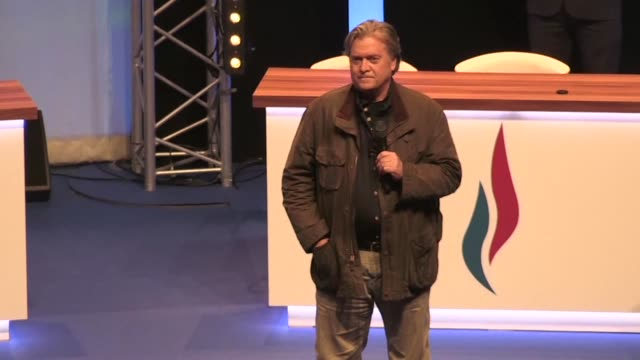 former donald trump advisor steve bannon delivers key address at french far right summit - lille stock videos & royalty-free footage