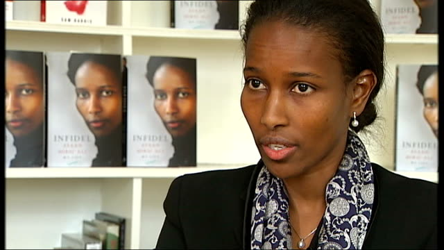 former dutch mp ayaan hirsi ali to meet tory politicians; england: london: int ayaan hirsi ali interview sot - on cursing of islam in europe / should... - philosophy stock videos & royalty-free footage