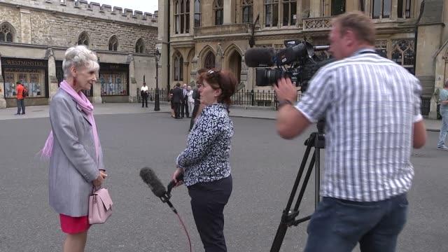 former 'eastenders' actor leslie grantham dies: anita dobson interview; england: london: ext anita dobson set-up walking shot / cutaways dobson... - eastenders stock videos & royalty-free footage