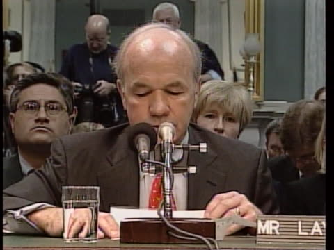 former enron chairman kenneth lay on taking 5th ammendment rights at senate commerce committee hearing. there is a bust shot of kenneth lay sitting... - 2 5 months stock videos & royalty-free footage