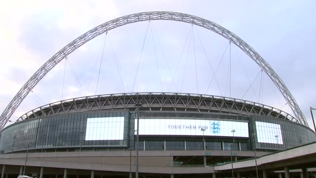former fa chiefs urge government to restructure 'unrepresentative' organisation; general view of wembley stadium electronic sign showing fa logo - general view stock videos & royalty-free footage