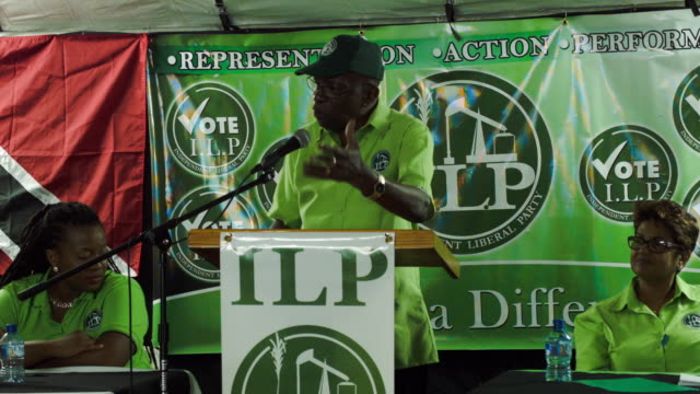 former fifa vice-president jack warner speaks during an independent liberal party community meeting on june 11, 2015 in surrey, trinidad and tobago.... - fifa stock videos & royalty-free footage