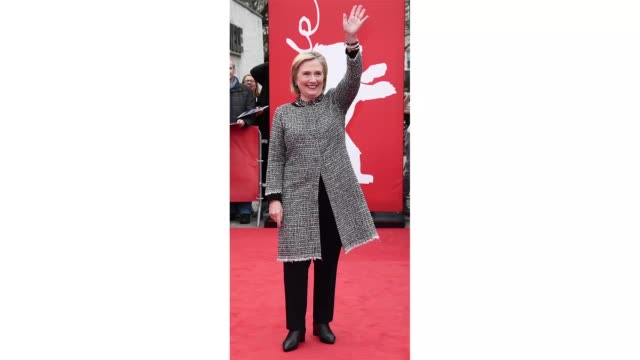 berlin germany february 24 former first lady hillary rodham clinton poses at the hillary premiere during the 70th berlinale international film... - gif stock videos & royalty-free footage